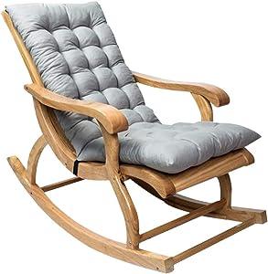 Rocking Chair Cushions, Sun Lounger Cushion Pads, Lounge Chair Cushions Thicken Lengthen Folding Wicker Chair Pads Patio Furniture Overstuffed Bench Cushion (Without Chair) (Gray)
