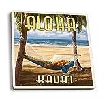 Juego de 4 posavasos de goma para bebidas, Kaua'i, Hawaii – Hamaca, posavasos,...