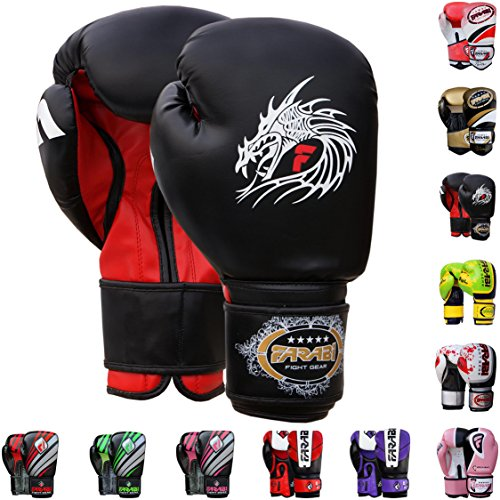 Farabi Pro Fighter Boxhandschuhe Sparring Gym Bag Punching Focus Pad Mitts, Schwarzer Drache, 14 oz