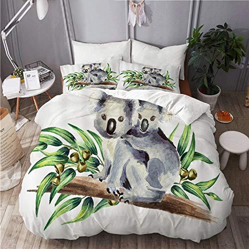 XINGAKA Funda nórdica Estampada,Oso Koala Acuarela Animales con bebé Sentado en el árbol de eucalipto Verde con Rama de Hojas,Conjunto de Ropa de Cama de poliéster de 3 Piezas 240 * 260cm