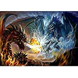 番号キットによるDIY5Dダイヤモンド絵画大人のための番号キットによるファイアドラゴンとライトニングドラゴンの描画フルドリルクリスタルラインストーンアートクラフトホーム30X40CM