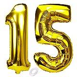 SNOWZAN Globo de 15 cumpleaños dorado para niña, niño, número 15, globo gigante de helio número 15, globos con números grandes XXL de 15 añosHappy Birthday número gigante de 15 cumpleaños para fiestas