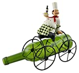 Polyresin Fat Chef With Wine And Cheese On Bicycle Metal Wine Bottle Holder
