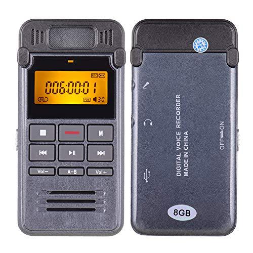 Aibecy Grabadora de sonido digital de voz de 8 GB, reproductor de música MP3, grabación de un botón, soporte activado por voz, monitor de teléfono con altavoz para reuniones conferencias entrevistas