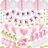 JWTOYZ Geburtstagsdeko Mädchen, Geburtstagsdeko Rosa, Deko Geburtstag Mädchen mit Happy Birthday Banner, Happy Birthday Confeti, 6pcs Wabenball, 40pcs Ballons und Herzform Girlande
