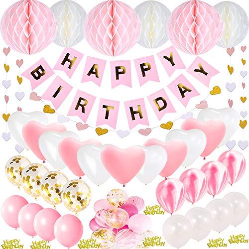 Geburtstagsdeko Mädchen und Jungen, Deko Geburtstag Mädchen und Junge, Geburtstagsdeko Rosa und Blau (rosa)