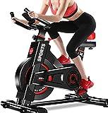 Vélo d'appartement pour exercices (vélos d'intérieur) – Avec moniteur de fréquence cardiaque, entraînement par courroie, résistance infinie, écran LCD, pouls à la main