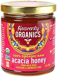 Heavenly Organics 100% Organic Raw Acacia Honey (12oz) Lightly Filtered to Preserve Vitamins, Minerals and Enzymes, Made from Wild Beehives & Free Range Bees; Dairy, Nut, Gluten Free Kosher