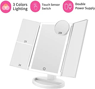 Makeup Vanity Mirror with Lights, 3 Color Lighting 36 LED COSMIRROR Trifold Lighted Makeup Mirror, 1X/2X/3X/10X Magnification and Touch Screen, High Definition Light Up Mirror (White)