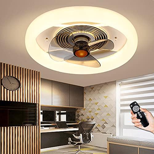 Ventilador De Techo LED Con Lámpara Luz De Techo Regulable Con Ventilador Temperatura De 3 Colores Y 3 Velocidades Luz De Ventilador Silencioso Fan Luz Colgante Para Dormitorio Sala De Estar Comedor