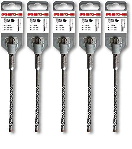 WERHE ® Profi 5 tlg. SDS Plus Betonbohrer 6 x 160 mm Hammer Stein Beton Quadro X Vierfachschneide Kreuzschneide