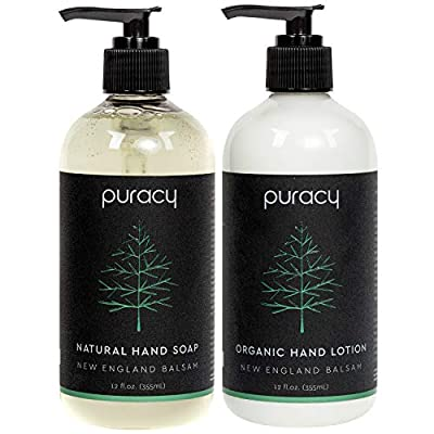 Puracy Christmas Tree Hand Soap & Lotion Set, Limited Edition Natural & Organic Formulas, New England Balsam, 12-Ounce (2-Pack)