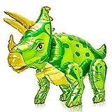 PartyWoo Dinosaur Balloons, Inflatable Dinosaur Toys, Self Standing Dinosaur Toys for Boys, Dinosaur Balloons, Dinosaur Birthday Party Supplies, Dinosaur Party Favors for Birthday Party (Triceratops)