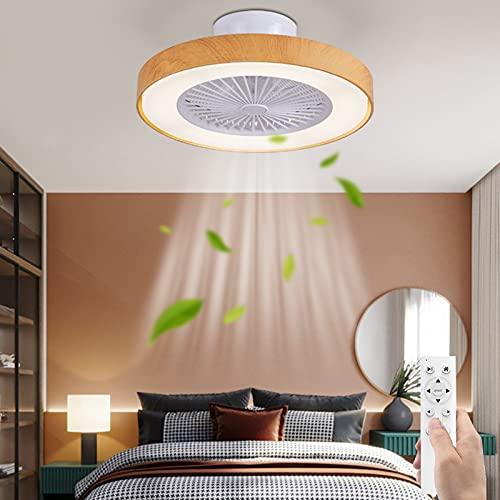 LED Lámpara de Techo Con Ventilador Regulable 36W Ventilador de Techo Con Iluminación Redondo Silencio Fan Luz de Techo Control Remoto Timer 3 Velocidades del Viento Cuarto Sala de Estar Comedor