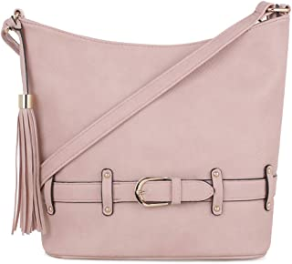 DELUXITY | Crossbody Hobo Slouch Bucket Purse Bag | Functional Multi Pocket with Tassel and Belt