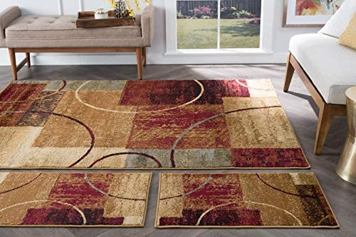 Tacoma Multi Color 3 Piece Area Rug Set for Home Room and Decor Modern Abstract product image