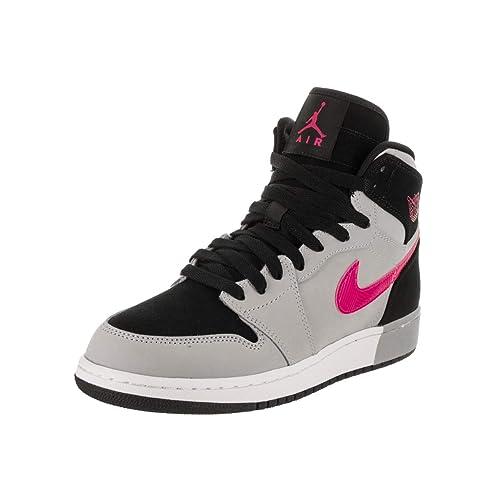 Jordan Nike Kids Air 1 Retro High GG Black Deadly Pink Wolf Grey Basketball 51590a4e6