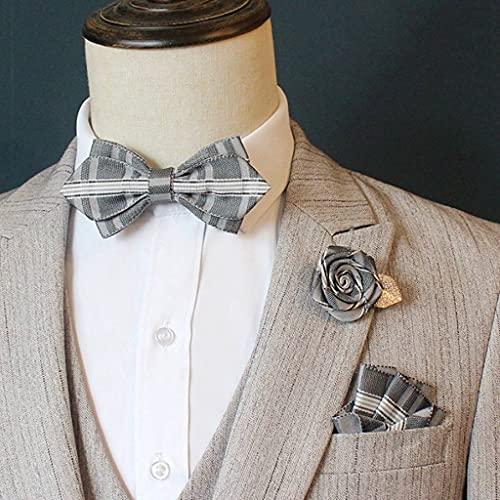 YSMLL Traje de Pajarita para Hombre, Traje de Bolsillo, Cuadrado, Broche de Flor Rosa, Novio de Boda, Padrino de Boda, Pajarita, Collar Coreano (Color : A)
