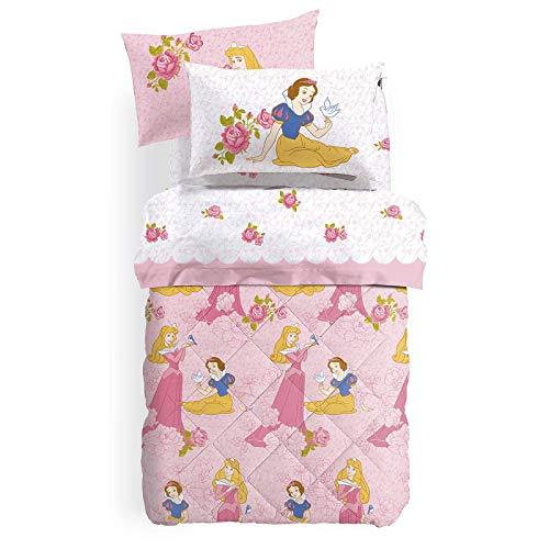 L'EMPORIO CASA CALEFFI Trapunta Princess Rosa Invernale CALEFFI Disney Una Piazza Singola 100% Cotone