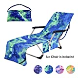 Beach Chair Towel with Side Pockets,Microfiber Chaise Lounge Chair Towel Covers for Sun Lounger Pool Sunbathing Beach Hotel Vacation,Easy to Carry Around,No Sliding,Tie-Dye Green(82.5' x 29.5')