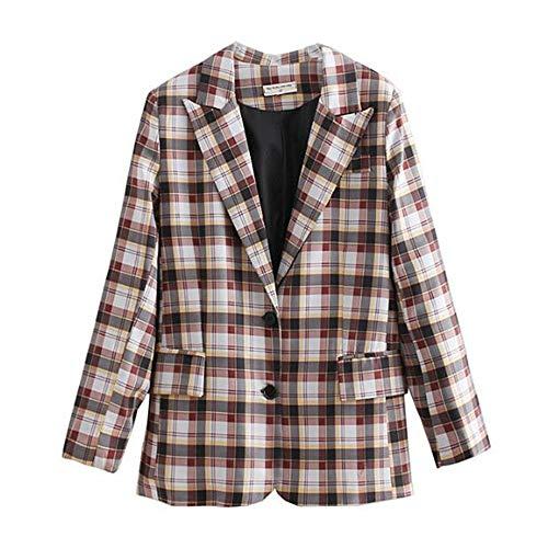 WJMM Damen Blazer Mit Kontrast-Farbe Gingham-Plaid-Blazer-Frauen-Gekerbtes Kragen-Lose Klage-Jacken-Mantel-Oberbekleidung, M