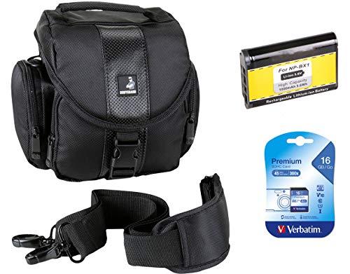 Bodyguard Sparset Tasche für Sony DSC-HX400V HX400 - Fototasche schwarz + Ersatzakku NP-BX1 + 16GB SD Karte