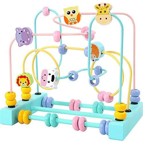 KDOAE Bead Maze Cubo Educación Abacus Cuentas Círculo Regalo de los Juguetes Juego Actividad de Colores for los niños Niños Niños Niños Niñas para Niños Pequeños (Color : Blue, Size : Free Size)