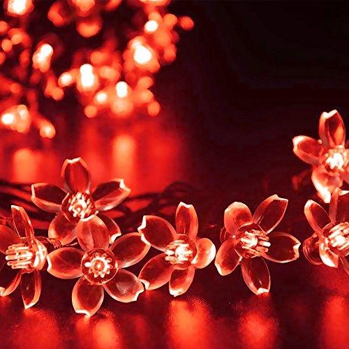 Solarlampen Blumen Schnur Lichter Außen,KINGCOO Wasserdicht 23ft/7m 50 LED Pfirsichblüte Kirschblüte Solar Lichterkette für GärtenHäuser Hochzeit Weihnachtsfeier Dekorationen (Rot)