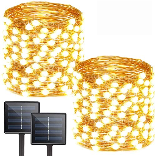 Albelt 2-Pack Each 72ft 200 LED Solar String Lights Outdoor (Upgraded Ultra-Bright & Extra-Long), Waterproof Solar Lights Outdoor Decorative with 8 Modes, Twinkle Solar Fairy Lights (Warm White)