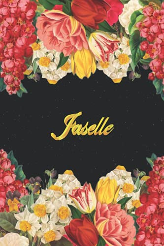 Jaselle: Lined Notebook / Journal with Personalized Name, & Monogram initial J on the Back Cover, Floral Cover, Gift for Girls & Women