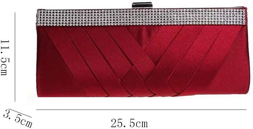 HQQ Sac de soirée en Tissu tissé, Robe de Banquet en Satin, Pochette en Strass, Sac à bandoulière (Color : Wine Red) Wine Red