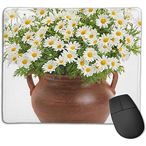 Delicate madeliefjes en bloempotten patroon rubber anti-slip muismat rechthoek Game Mouse Pad Computer Notebook