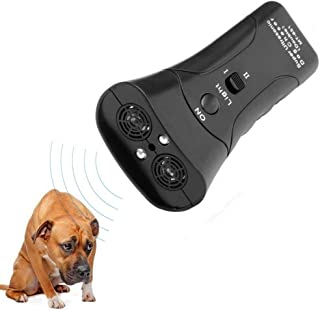 DOPQIEG Ultrasonic Dog Repeller, Electronic Anti Barking Stop Bark Handheld 3 in 1 Pet Dog Trainer with LED Flashlight, Dog Training Device for Your Safety - Dog Deterrent/Training Tool/Stop Barking