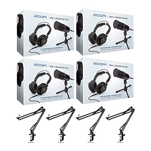 Zoom ZDM-1 4-Person Podcast Mic Pack Kit with Headphones, Mic Cables, and...