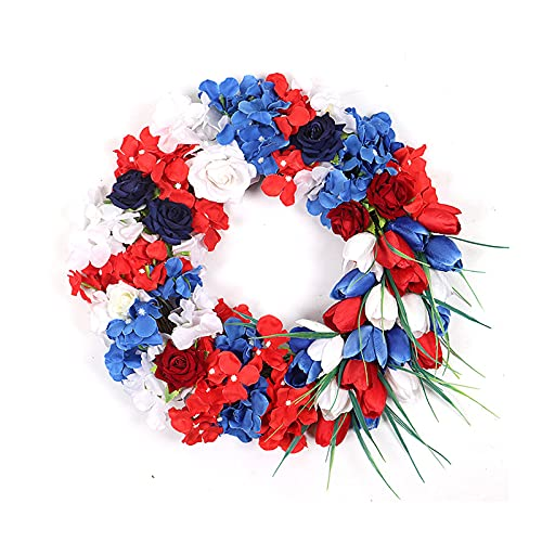 FXforer Artificial Tulip Wreath,16Inch Hydrangea Tulip Front Door Wreath,Spring Summer Floral Wreath,Farmhouse Grapevine Twig Garland with Green Leaves for Home Window Wall Festivals Decor