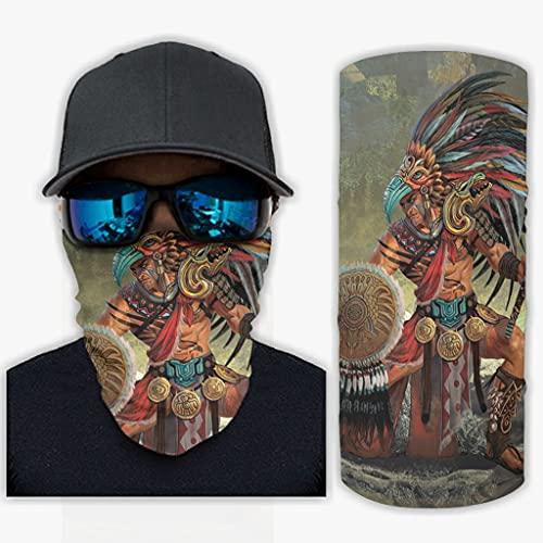 CCMugshop Bandana máscara facial étnica azteca, guerrero, pájaro, plumas, bandana, pasamontañas, reutilizable, blanco, talla única