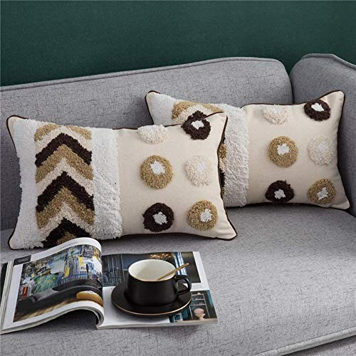 Decorative Throw Pillow Covers for Couch Sofa Bed 2 Pack 100% Cotton Woven Tufted Rectangle Lumbar Pillowcases with Tassels Accent Cushion Covers 12 x 20 Inch-12 x 20 Inch
