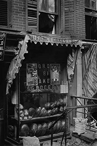 Jewish Bakery Horowitz on Lower East Side of New York advertises Fancy Cakes on Its awning and have both Rye Bread and Pumpernickel in the Window Poster Print (18 x 24)