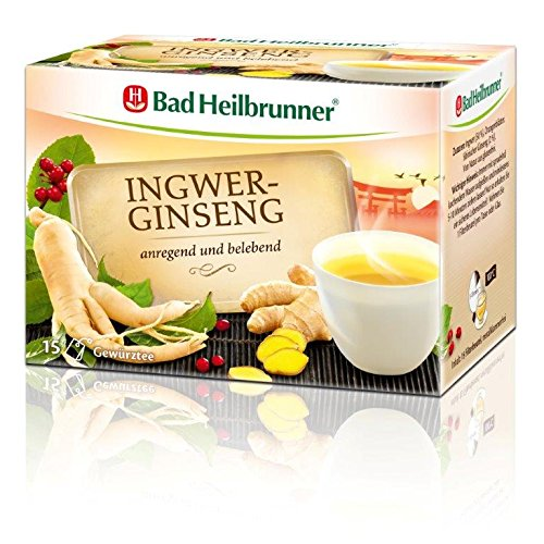 Bad Heilbrunner Ingwer-Ginseng Tee, 15er Filterbeutel, 1er Pack (1 x 30 g)
