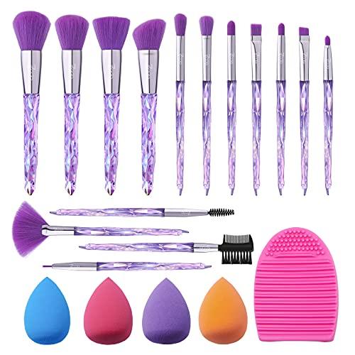 Pinselset Makeup 7 code 15 Stück Make up Pinsel mit 4 Beauty Schwamm und Bürste Wash Ei Make up Pinsel Set Lippen Foundation Eyeshadow Gesicht Makeup Pinselset