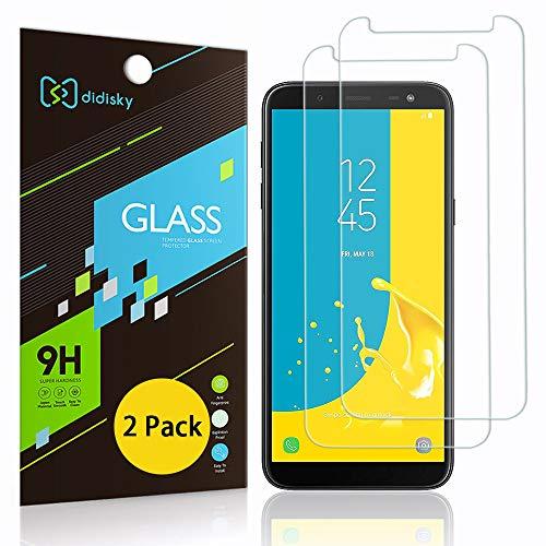 Didisky [2-Unidades Cristal Templado Protector de Pantalla para Samsung Galaxy J6 2018, Antihuellas, Sin Burbujas, Fácil de Limpiar, 9H Dureza, Fácil de Instalar, Transparente