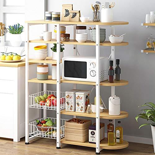 Estantes Organizadores de Almacenamiento de Cocina De marco de metal de la cocina del panadero de microondas horno de carro 6 niveles + 5 niveles rack con 2 cestas de malla de alambre Estante de la Es