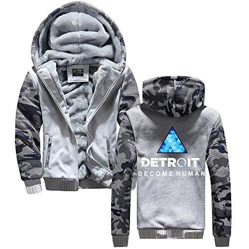 Tayaho Unisex Detroit Become Human Casual Stampate Felpe con Cappuccio Cappotto Autunno e Inverno più Velluto Addensare Mimetico Patchwork Pullover con Cappuccio Cappotto per Uomo e Donne