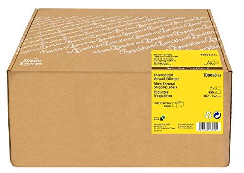 AVERY Zweckform TD8050-25 Thermodirekt Versandetiketten (102x152 mm, 950 selbstklebende Paketaufkleber auf 2 Rollen mit einem Kern 25 mm, Thermoetiketten für Desktop Etikettendrucker) weiß