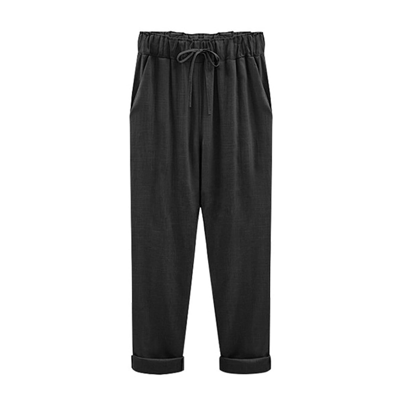 EIMEI シンプル リネン パンツ 柔らかい 履き心地 涼しい M~6XL 大きいサイズ レディース ズボン 九分丈 七分丈パンツ 選べる チノパン テーパード ウエストゴム ロングパンツ