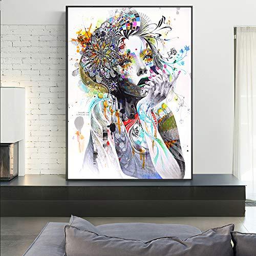 Sanzangtang Meisjes met bloemen abstracte canvas kunstdruk Meisjes met vlinder Modern ophangen Poster Pop-Art afbeelding Frameloos voor de woonkamer