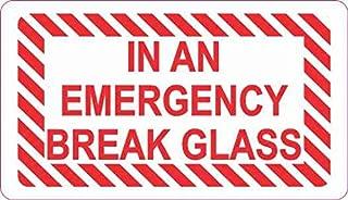 StickerTalk in an Emergency Break Glass Vinyl Sticker, 3.5 inches by 2 inches