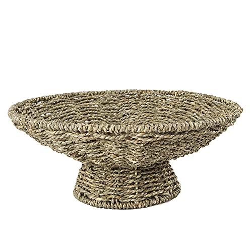 Made Terra - Cuenco y bandeja de mimbre natural, bandeja decorativa para servir y cuenco para frutas, golosinas o centros de mesa, gran decoración para cualquier mesa (pascua)