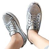 JFFFFWI Sandalias de Plataforma con Cordones para Mujer, Diamantes de imitación, Zapatillas Brillantes, Zapatillas Planas con Purpurina, Zapatillas de Cuero, Zapatos de Punta Redonda, Mocasines