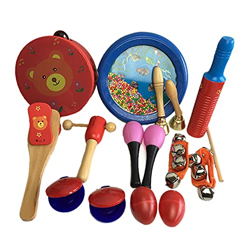 SHFAMHS Kinder Musikinstrument Set,10 Stück Holz Schlaginstrumente Tamburin Xylophon Spielzeug Für Kinder,Vorschulerziehung Früherziehung Musikspielzeug Für Jungen Und Mädchen